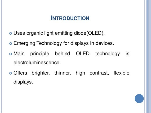 OLED technology Seminar Ppt