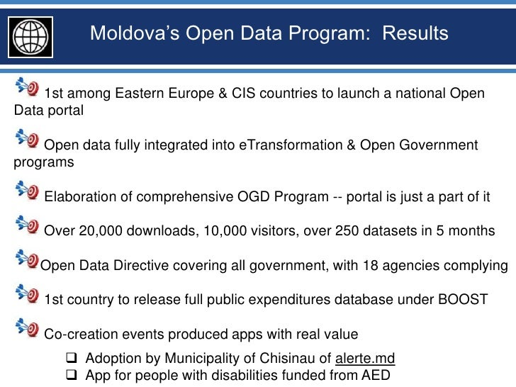 Moldova's Open Data Program: Results    1st among Eastern Europe & CIS countries to launch a national OpenData portal    O...