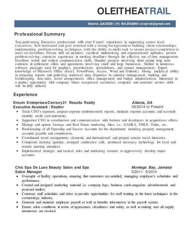 OLEITHEATRAIL Atlanta ,GA30350   (H) 404.254.8844  olaytrail@gmail.com Professional Summary Top-performing Executive profe...