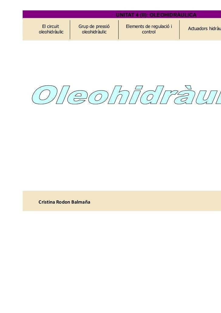 UNITAT 4 (II): OLEOHIDRÀULICA  El circuit     Grup de pressió      Elements de regulació i   Actuadors hidràulics   Circui...
