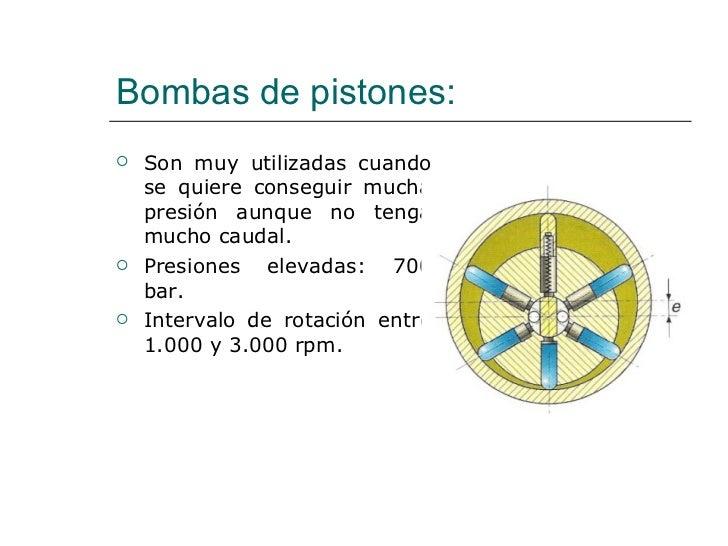 Bombas de pistones: <ul><li>Son muy utilizadas cuando se quiere conseguir mucha presión aunque no tenga mucho caudal. </li...