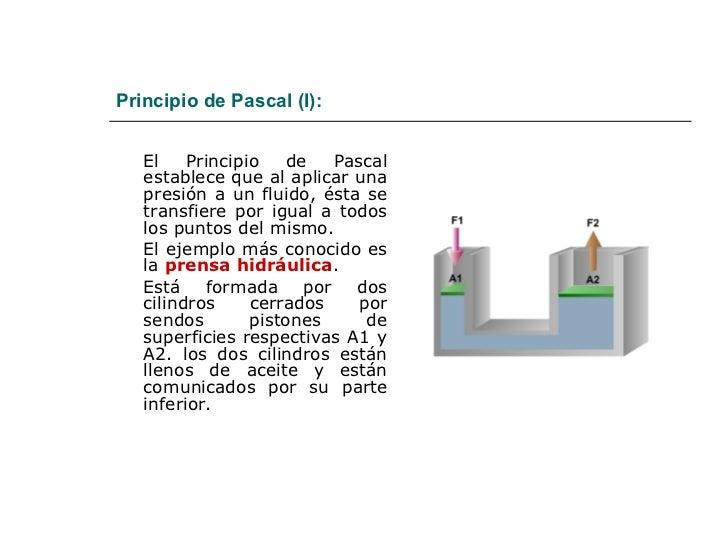 Principio de Pascal (I): <ul><li>El Principio de Pascal establece que al aplicar una presión a un fluido, ésta se transfie...
