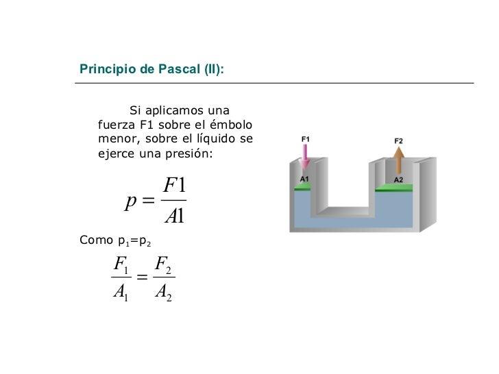 Principio de Pascal (II): <ul><li>Si aplicamos una fuerza F1 sobre el émbolo menor, sobre el líquido se ejerce una presión...