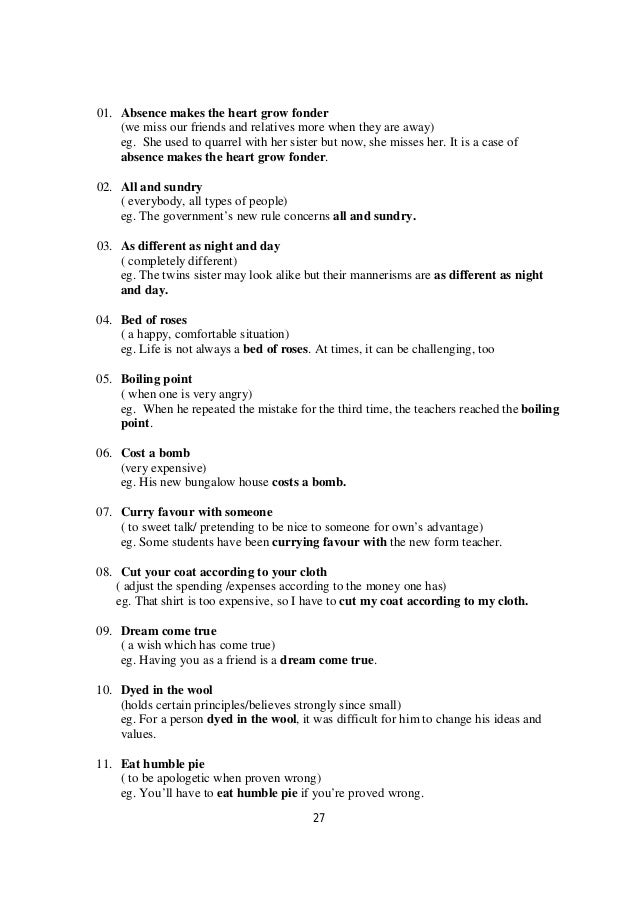 O level directed writing notes list of useful idiomsphrases 27 spiritdancerdesigns Gallery