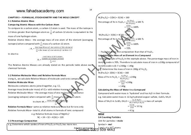 OLevels Chemistry Notes GCE and IGCSE – Mole Concept Worksheet