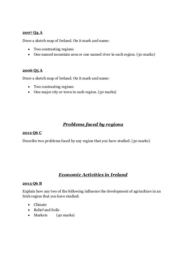 Core Unit 2: Leaving Certificate Gegraphy (Ordinary Level)