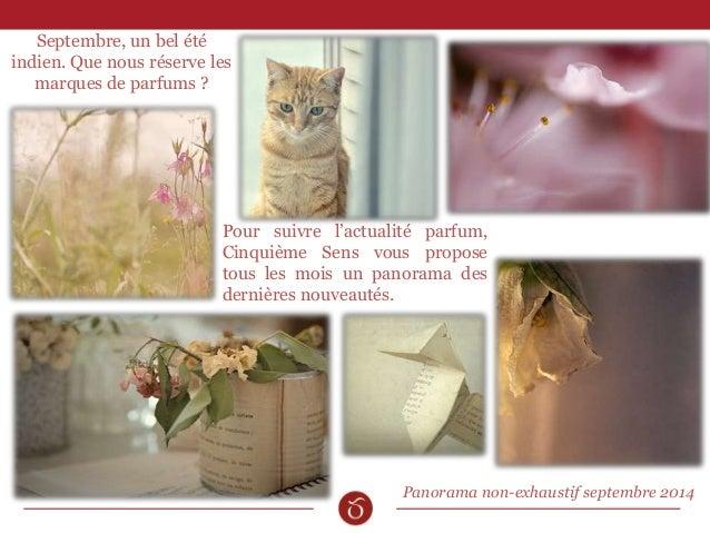 Pour suivre l'actualité parfum,  Cinquième Sens vous propose  tous les mois un panorama des  dernières nouveautés.  Panora...