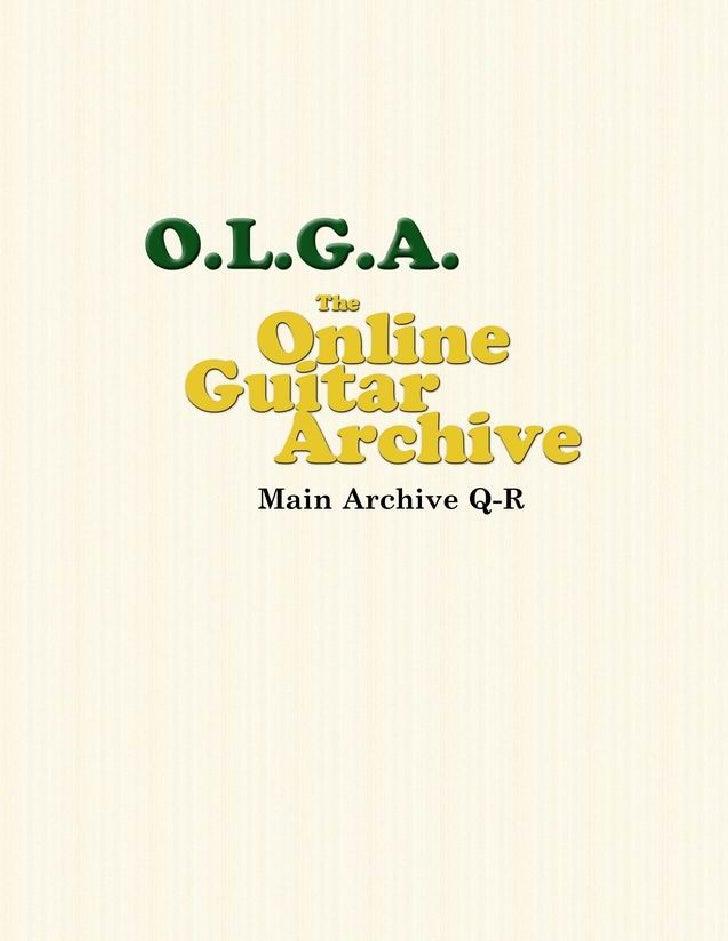 Olga Guitar Chords And Tablature (Q R)