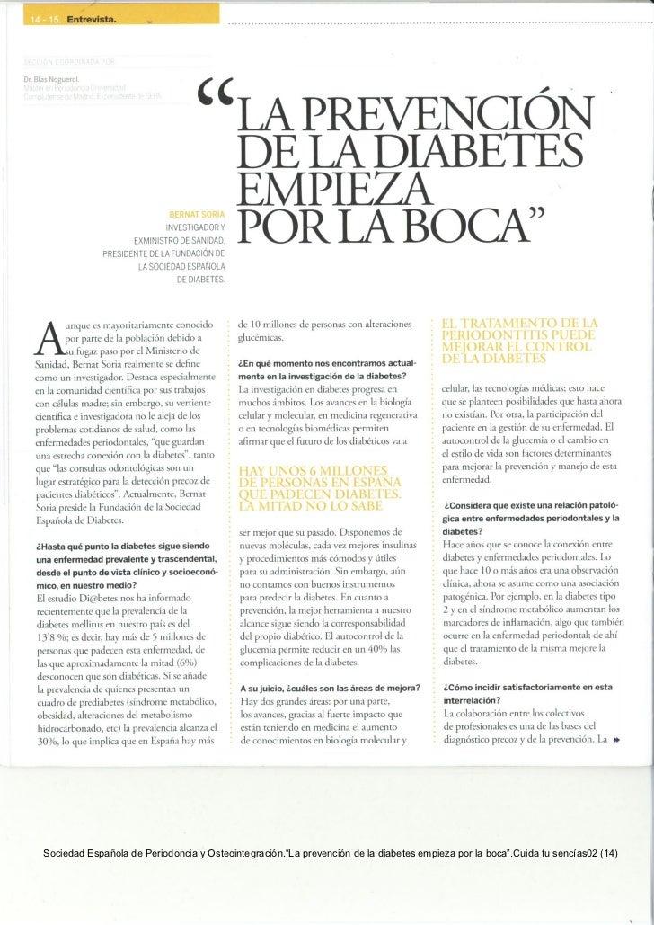 La prevención de la diabetes empieza por la boca
