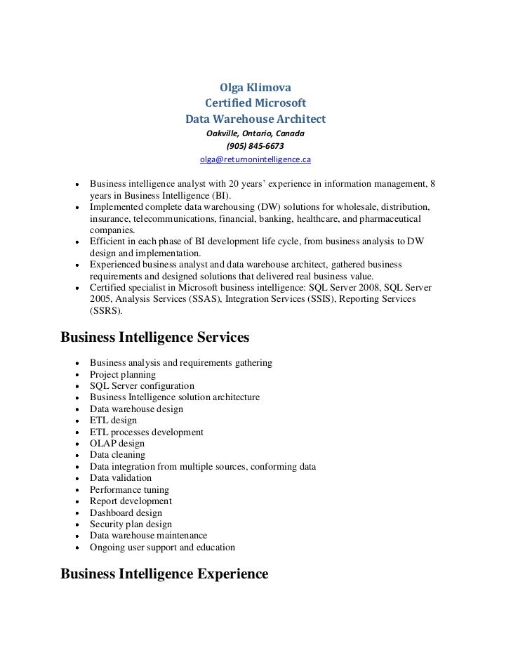 Olga Klimova - Data Warehouse Resume