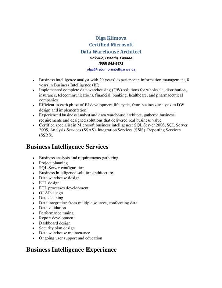 Marvelous Olga Klimova   Data Warehouse Resume. Olga Klimova Certified Microsoft ...
