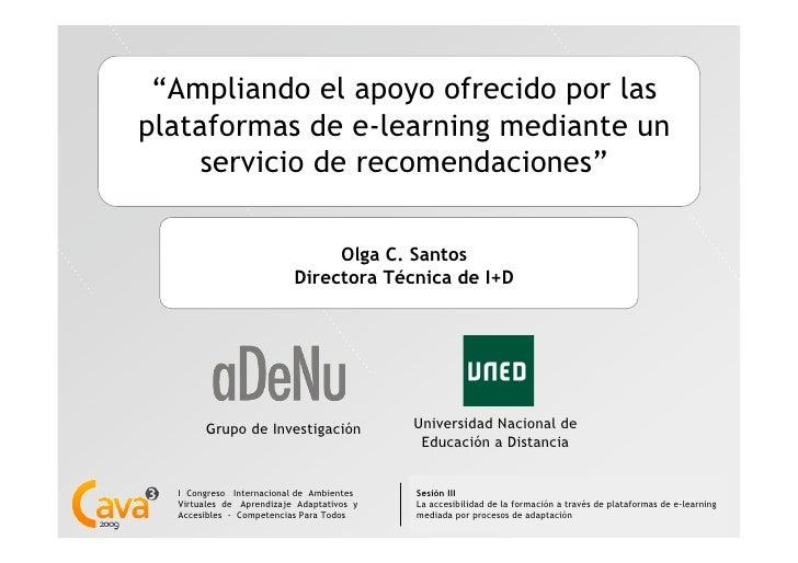 """""""Ampliando el apoyo ofrecido por lasplataformas de e-learning mediante un     servicio de recomendaciones""""                ..."""