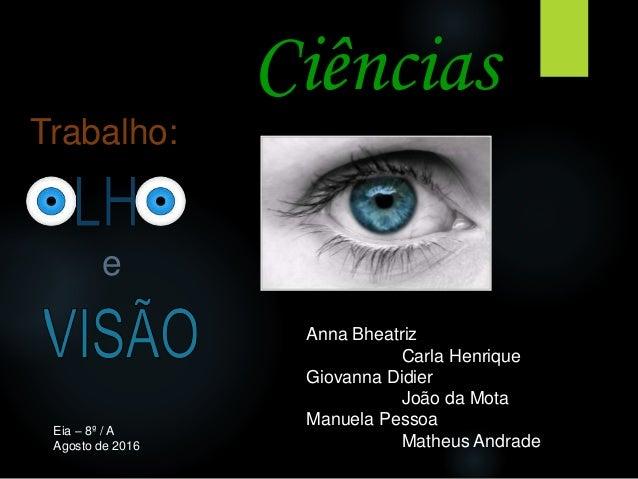 Ciências Trabalho: Anna Bheatriz Carla Henrique Giovanna Didier João da Mota Manuela Pessoa Matheus Andrade e Eia – 8º / A...