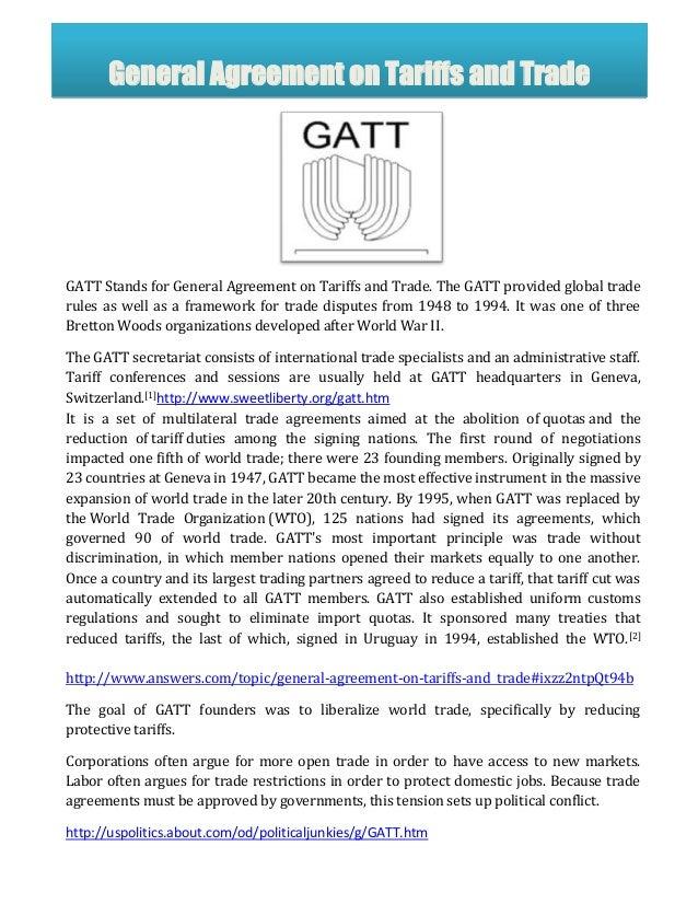 Gatt Agreements