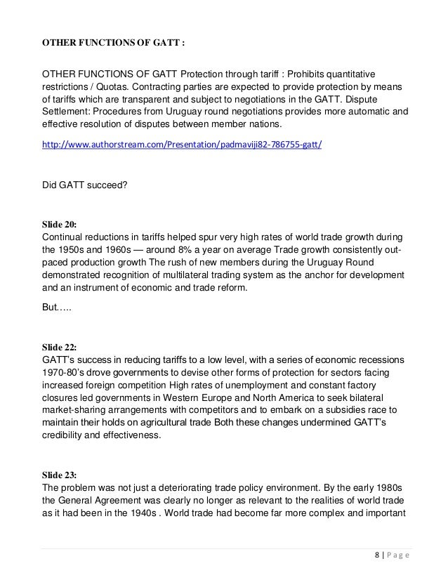 Gatt agreements 8 other functions of gatt platinumwayz
