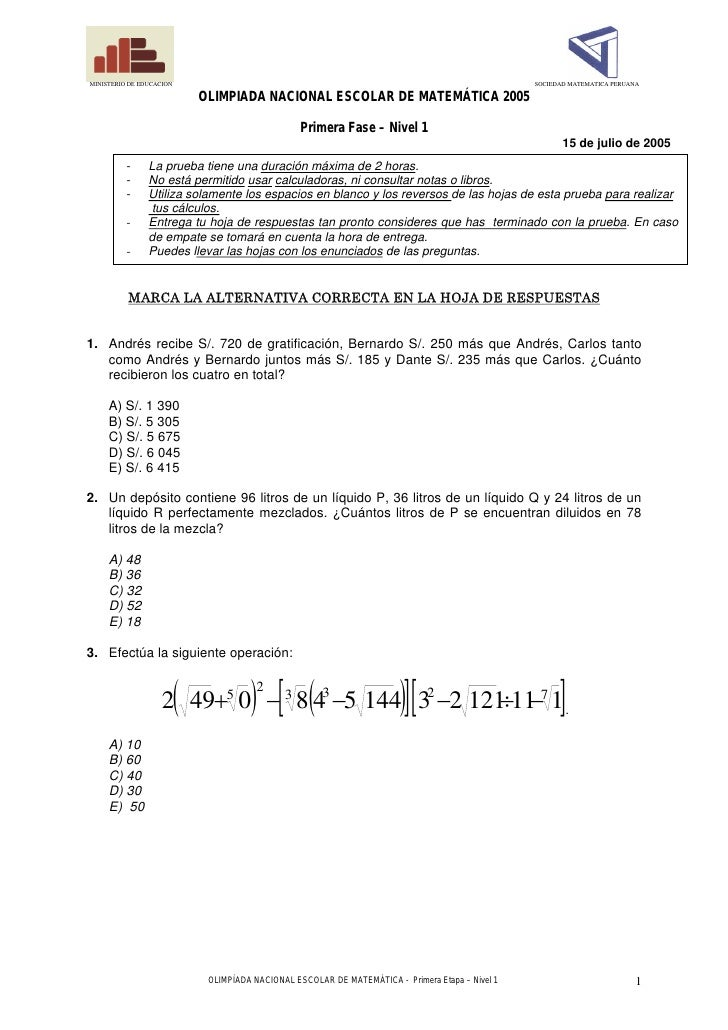 Olimpiada escolar de matematica nivel1