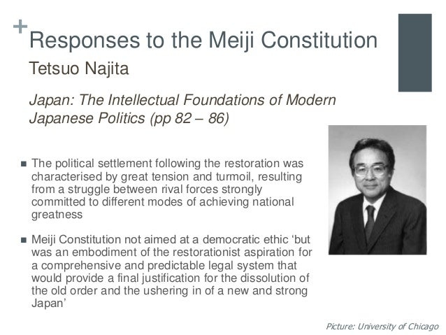 meiji constitution Video: meiji restoration: causes & effects  they were able to create a centralized and bureaucratic government that created the meiji constitution in 1889 the constitution was presented as a.