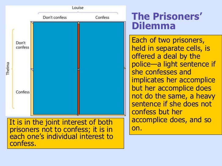 a discussion on the prisoners dilemma The prisoner's dilemma showed us everyone's true colors and we were able to conclude that most people acted selfishly in the experiment.