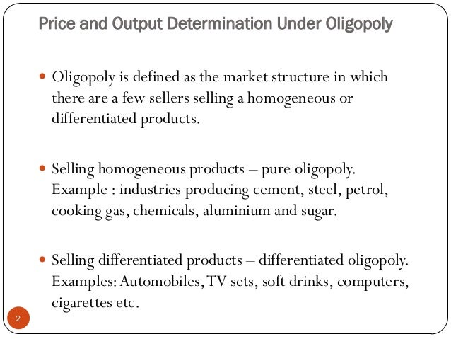 market structure of oligopoly Retail market structure refers to the number of companies that sell similar or identical products in the same geographical area an oligopoly describes a small group of companies that collude to.