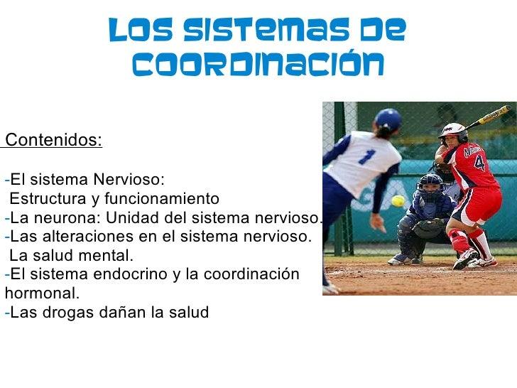 Los Sistemas De Coordinación Contenidos: - El sistema Nervioso: Estructura y funcionamiento - La neurona: Unidad del siste...