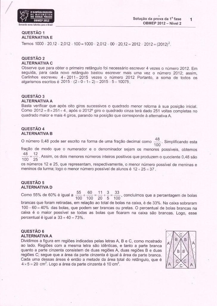Solução da prova da 1u faseSomandr novos talentos para o Brasil                                                           ...
