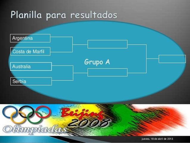 ArgentinaCosta de Marfil                  Grupo AAustraliaSerbia                            jueves, 18 de abril de 2013