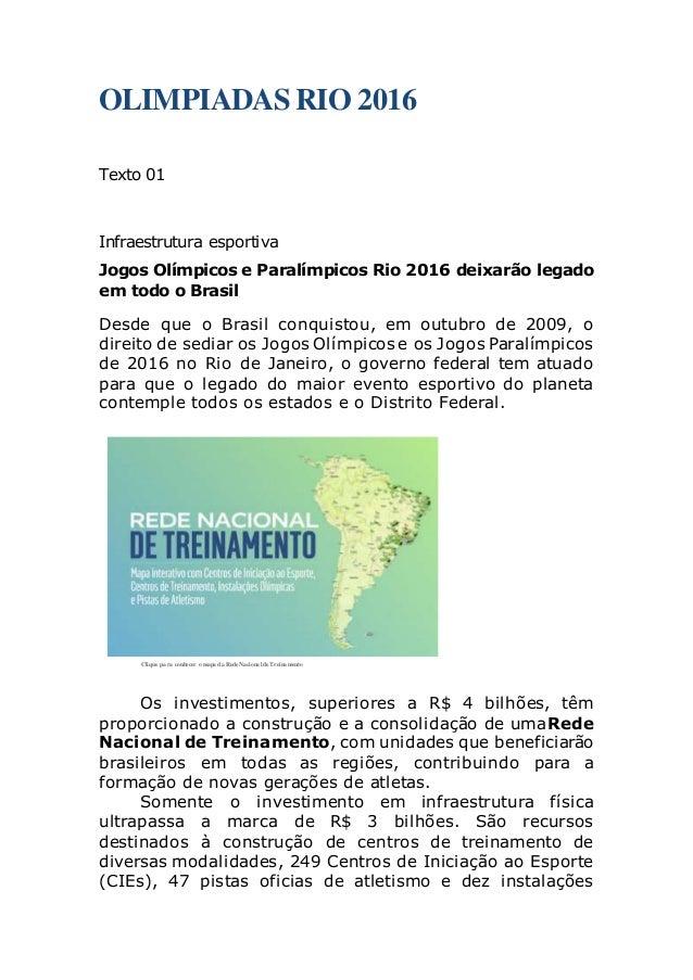 3f2fc4cdbcf6f OLIMPIADAS RIO 2016 Texto 01 Infraestrutura esportiva Jogos Olímpicos e  Paralímpicos Rio 2016 deixarão legado em ...