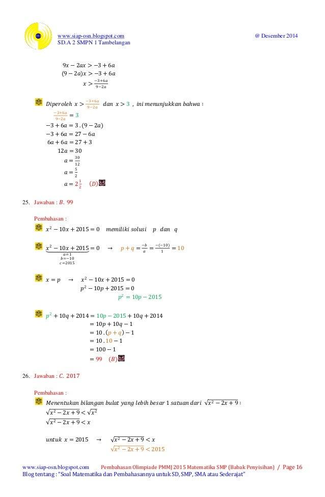 Olimpiade Primagama Madura Mencari Juara 2015 Matematika Smp Kode Soa