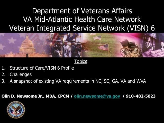 Department of Veterans Affairs VA Mid-Atlantic Health Care Network Veteran Integrated Service Network (VISN) 6  Topics 1....
