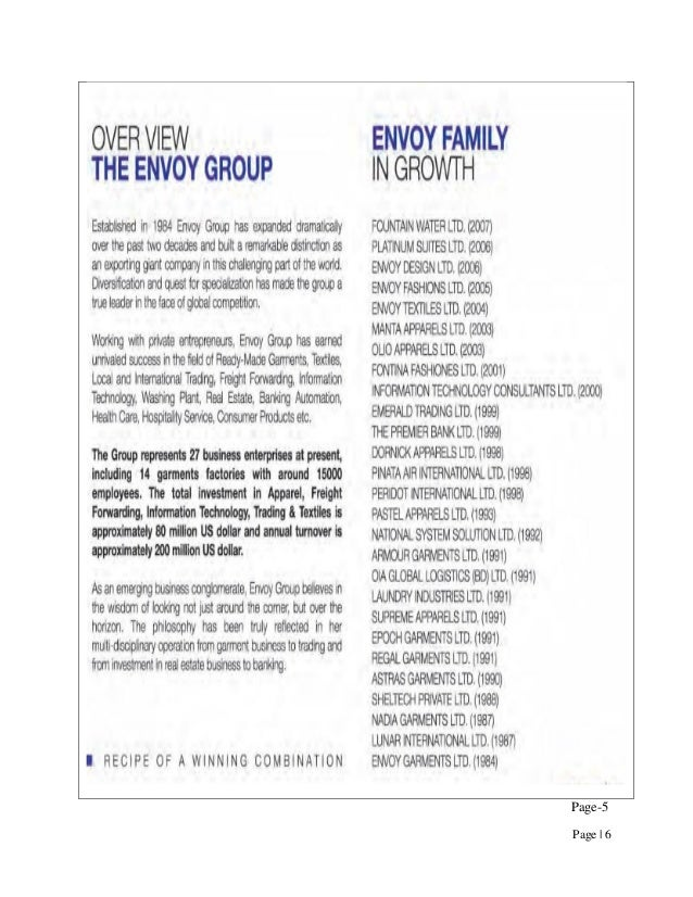 Industrial Attachment Of Olio Apparels Ltd Envoy Group