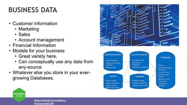 #OpenDataScienceMeans #AnacondaCON BUSINESS DATA • Customer information • Marketing • Sales • Account management • Financi...