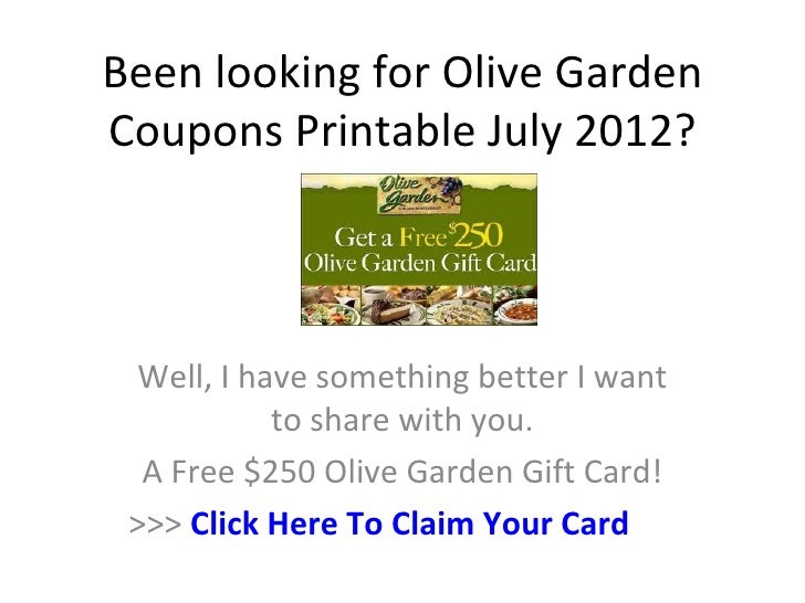 photograph about Olive Garden Printable Coupons called Olive Backyard garden Coupon codes Printable July 2012