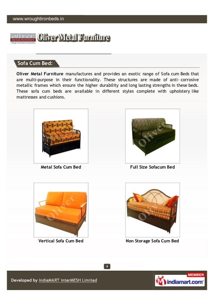Sofa Cum Bed:Oliver Metal Furniture manufactures and provides an exotic range of Sofa cum Beds thatare multi-purpose in th...