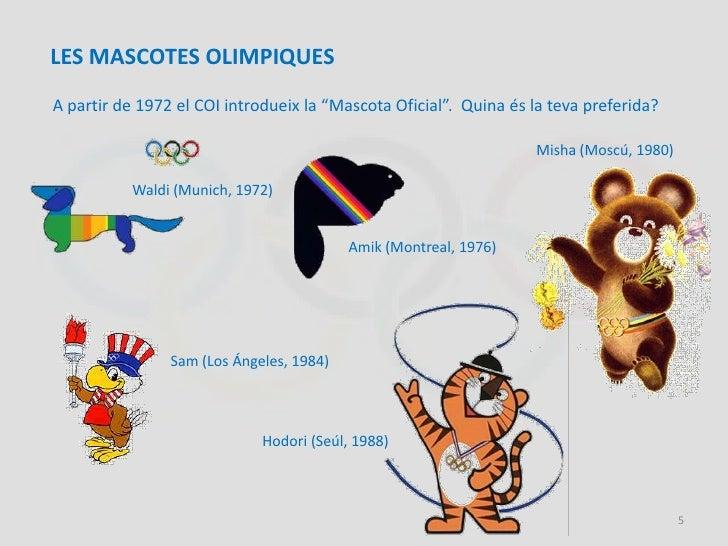 """LES MASCOTES OLIMPIQUESA partir de 1972 el COI introdueix la """"Mascota Oficial"""". Quina és la teva preferida?               ..."""