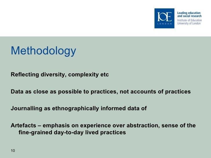 MethodologyReflecting diversity, complexity etcData as close as possible to practices, not accounts of practicesJournallin...