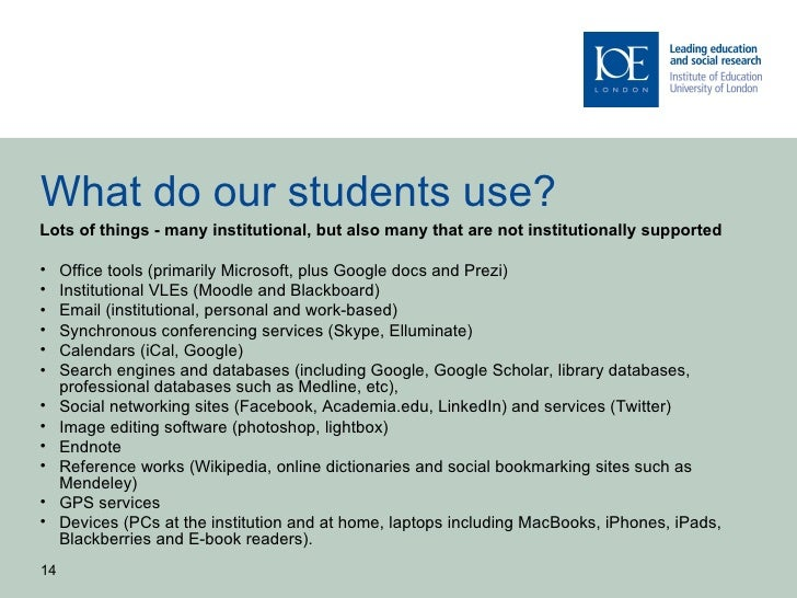 What do our students use?Lots of things - many institutional, but also many that are not institutionally supported•    Off...