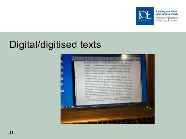 Digital/digitised texts23