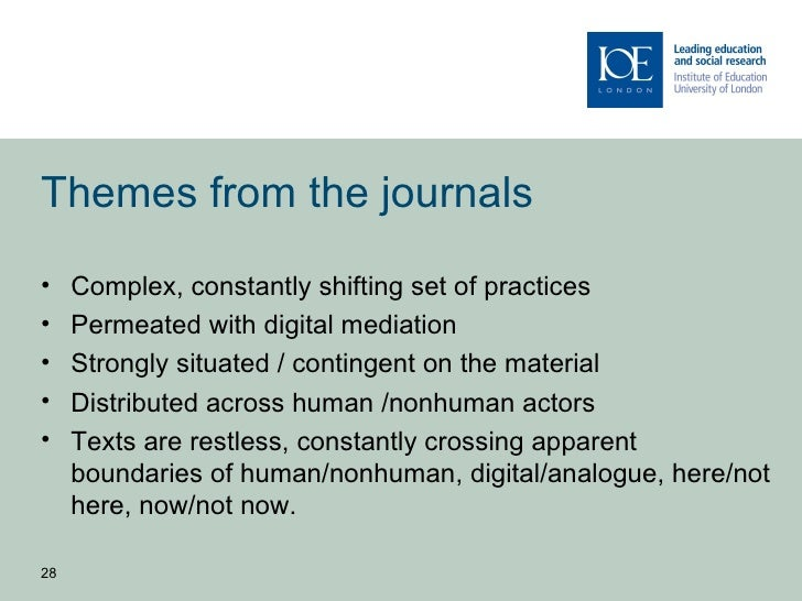 Themes from the journals•    Complex, constantly shifting set of practices•    Permeated with digital mediation•    Strong...