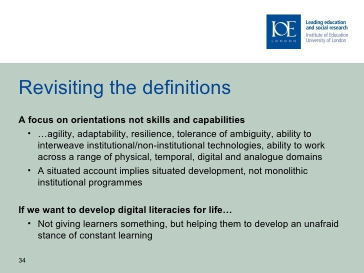 Revisiting the definitionsA focus on orientations not skills and capabilities  • …agility, adaptability, resilience, toler...