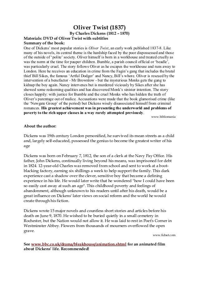 oliver twist resume oliver twist film allocine referat af  sparknotes oliver twist study questions essay topics