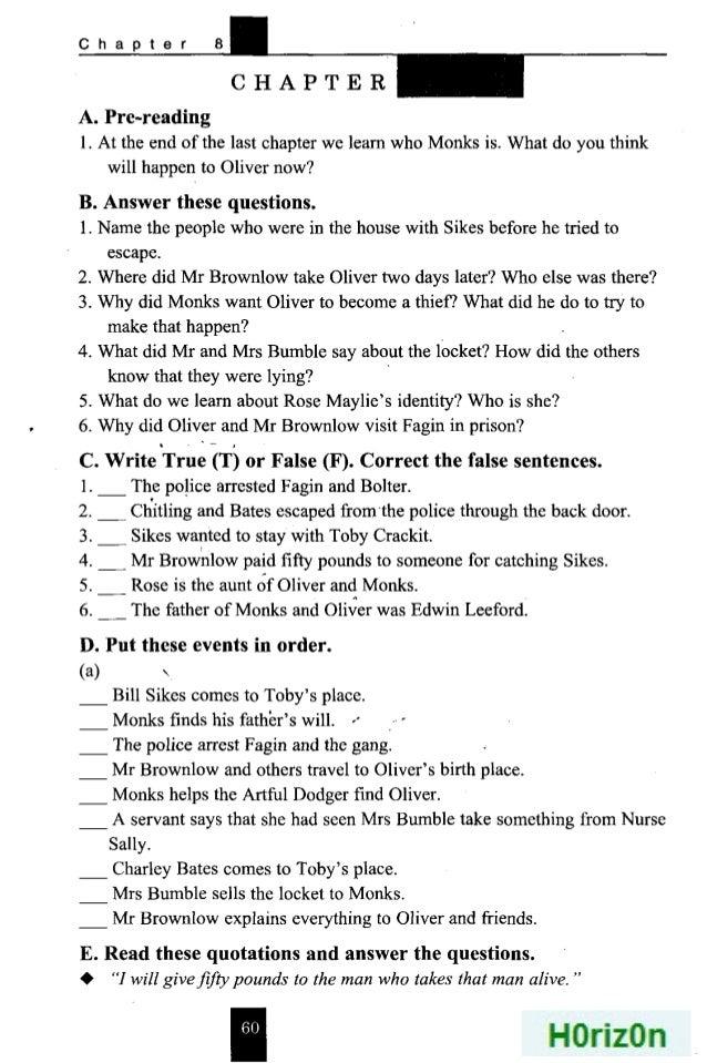 كتاب أوليفر تويست Oliver Twist للصف الأول الثانوي