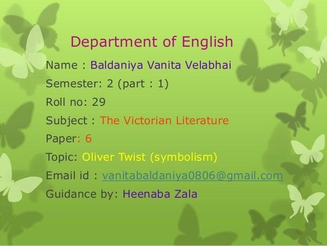 Department of English Name : Baldaniya Vanita Velabhai Semester: 2 (part : 1) Roll no: 29 Subject : The Victorian Literatu...