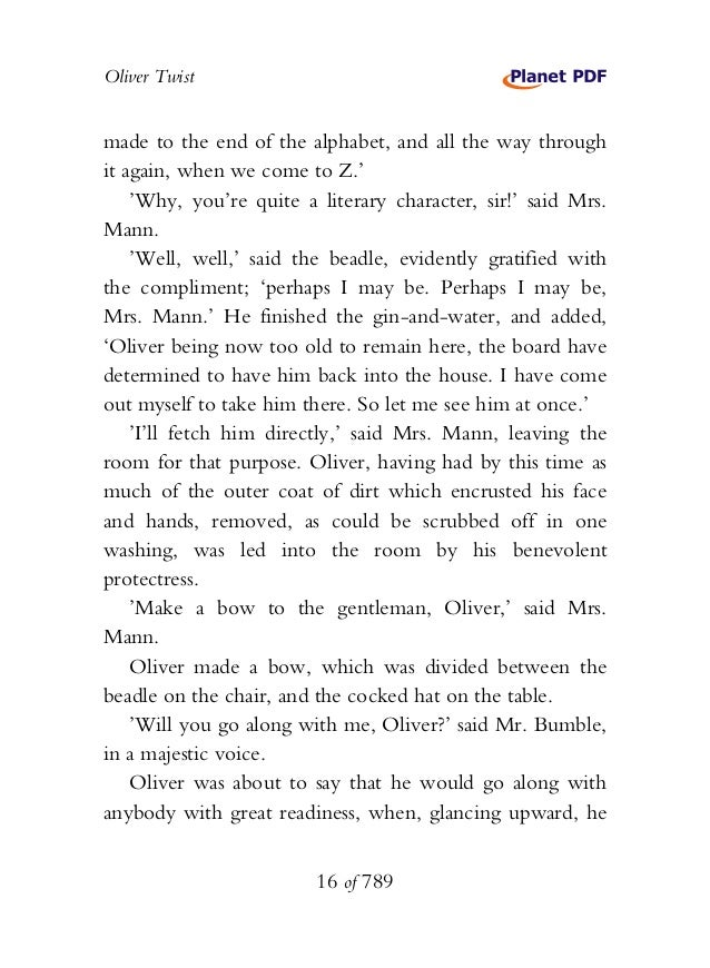 Oliver Twist made to the end of the alphabet, and all the way through it again, when we come to Z.' 'Why, you're quite a l...