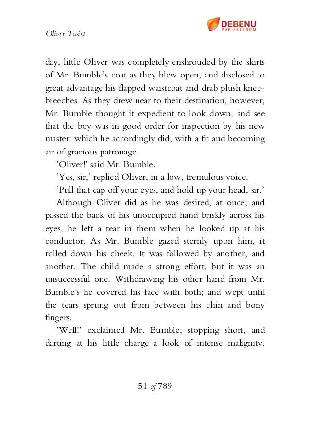 Oliver Twist day, little Oliver was completely enshrouded by the skirts of Mr. Bumble's coat as they blew open, and disclo...