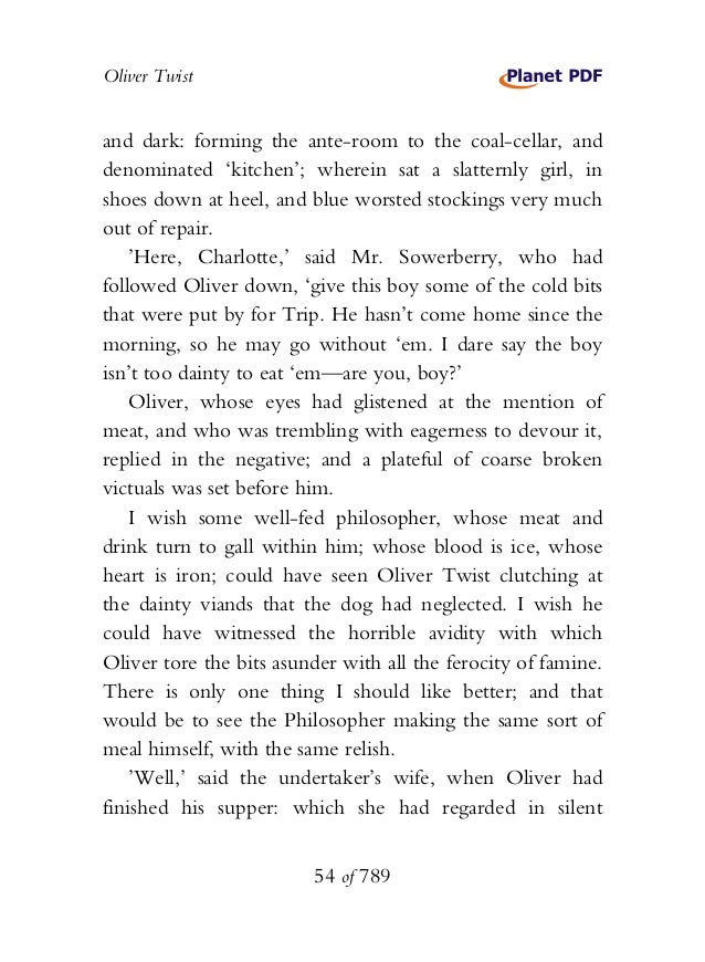 Oliver Twist and dark: forming the ante-room to the coal-cellar, and denominated 'kitchen'; wherein sat a slatternly girl,...