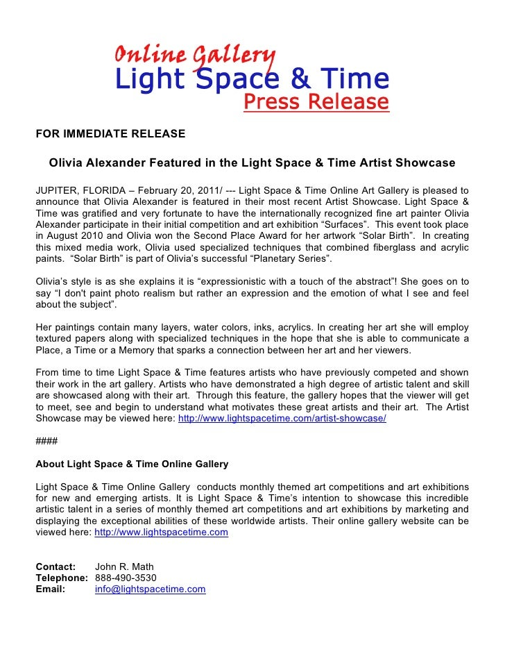 FOR IMMEDIATE RELEASE   Olivia Alexander Featured in the Light Space & Time Artist ShowcaseJUPITER, FLORIDA – February 20,...