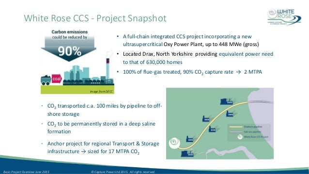 White Rose CCS - Project Snapshot • A full-chain integrated CCS project incorporating a new ultrasupercritical Oxy Power P...