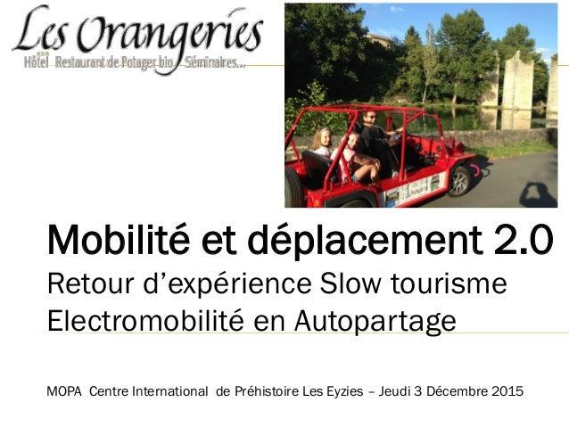 Mobilité et déplacement 2.0 Retour d'expérience Slow tourisme Electromobilité en Autopartage MOPA Centre International de ...