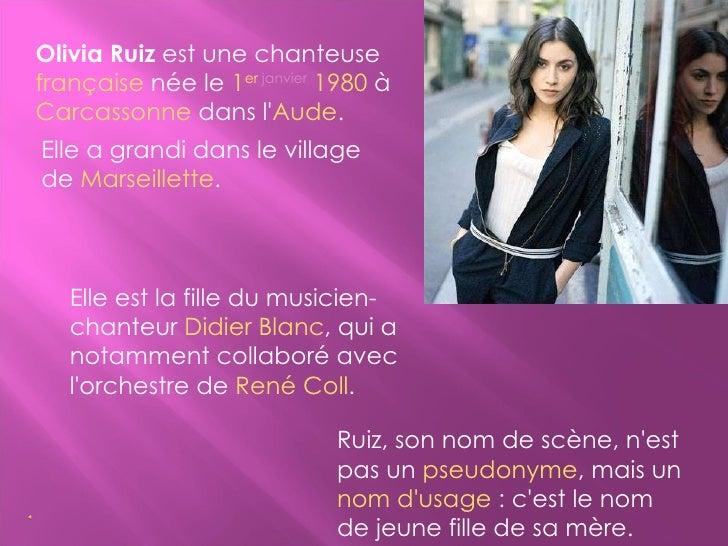 Olivia Ruiz (Blanc) Mª Margarida Slide 3