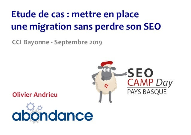 Etudedecas:mettreenplace unemigrationsansperdresonSEO CCIBayonne-Septembre2019 OlivierAndrieu